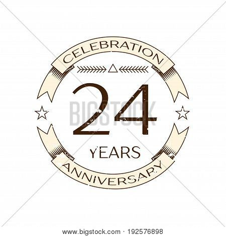 Realistic twenty four years anniversary celebration logo with ring and ribbon on white background. Vector template for your design