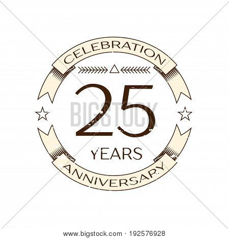 Realistic twenty five years anniversary celebration logo with ring and ribbon on white background. Vector template for your design