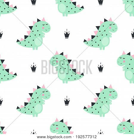 Cute dinosaur with crowns seamless pattern on white background. Vector dino background for kids. Child drawing style cartoon illustration. Design for fabric, textile, decor.