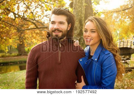 Cute couple hanging out in the park.