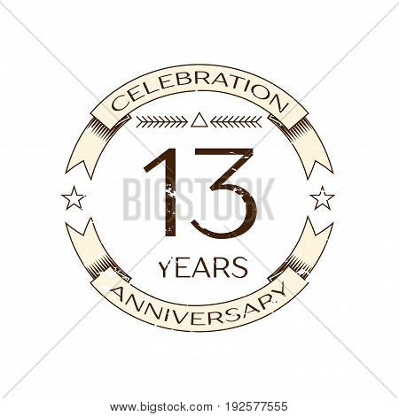 Realistic thirteen years anniversary celebration logo with ring and ribbon on white background. Vector template for your design