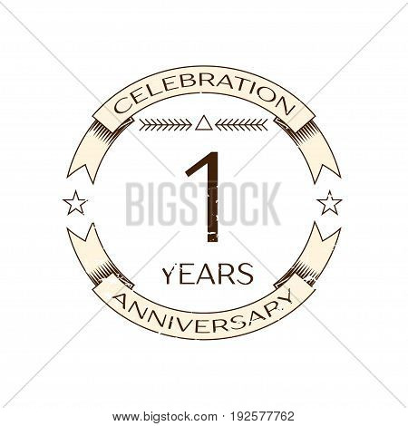 Realistic one years anniversary celebration logo with ring and ribbon on white background. Vector template for your design