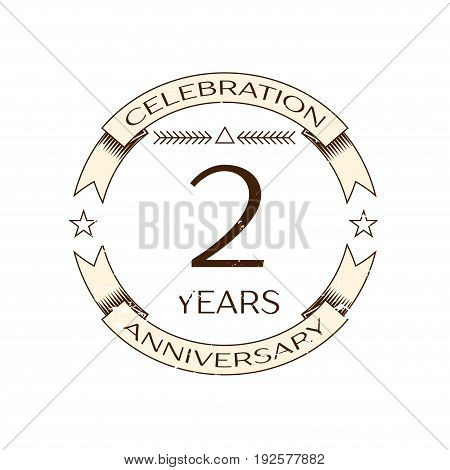 Realistic two years anniversary celebration logo with ring and ribbon on white background. Vector template for your design