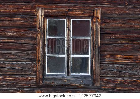 Halsingegard (Bortom aa) window of historic farm - Sweden Europe.