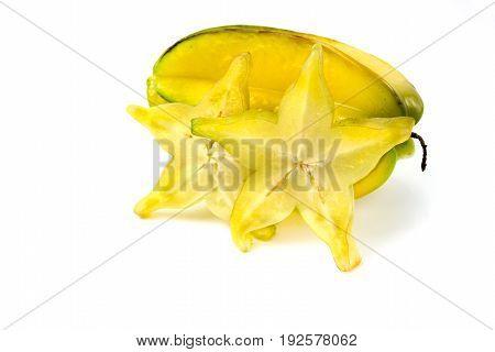 carambola starfruit slice on white background isolated