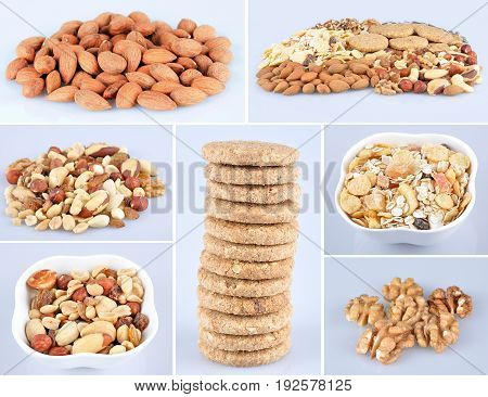 Collage of healthy and tasty mixed nuts, muesli tropic and whole grain cookies isolated on the light blue background