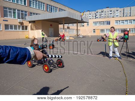 Voronezh, Russia - April 26, 2017: Children study the rules of the road in a game form