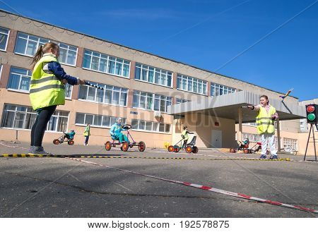 Voronezh, Russia - April 26, 2017: Children learn rules of the road in the form of the game