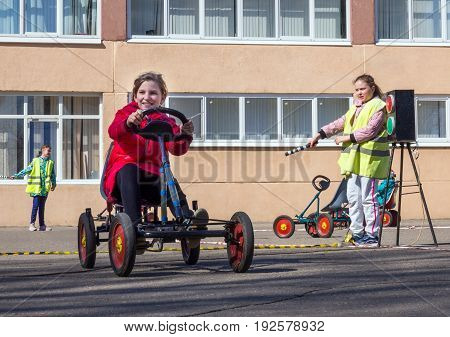 Voronezh, Russia - April 26, 2017: A lesson in the rules of the road for children