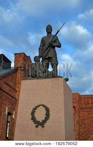Historic monument of estonian patriotic soldier. Former Tondi Military Academy Tallinn Estonia
