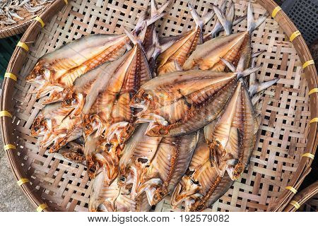 Sea food dried salted fishes on basketry
