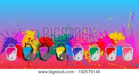 Color in metal bucket. Colorful banner. vector illustration.