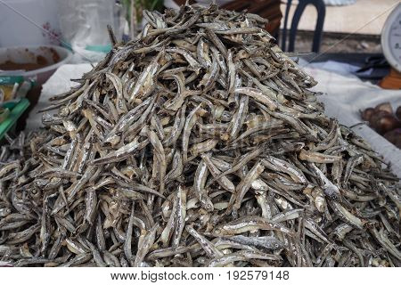 Dried anchovies in the local Thailand market