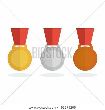 Medal Vector Set. Gold , Silver And Bronze Medal In Flat Style.
