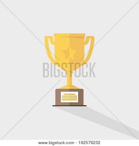Vector Of Golden Trophy Cup Flat Icon