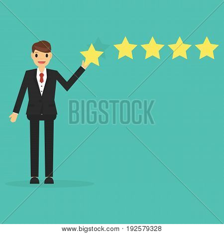 Happy businessman giving five star rating . business concept