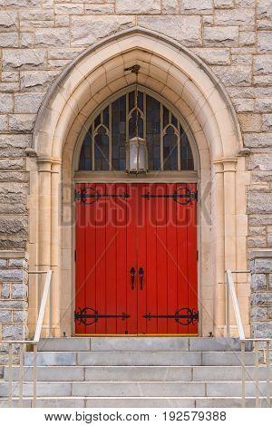 One door on the facade of Saint Mark United Methodist Church front view Atlanta USA
