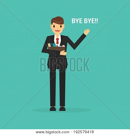Happy Businessman Leaving Job, Flat Design On Green Background.