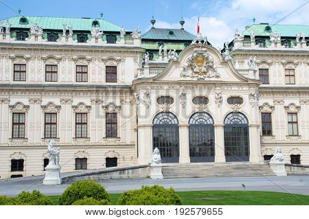 VIENNA, AUSTRIA - APR 29th, 2017: Belvedere is a historic building complex in Vienna, consisting of two Baroque palaces the Upper and Lower Belvedere , the Orangery, and the Palace Stables.