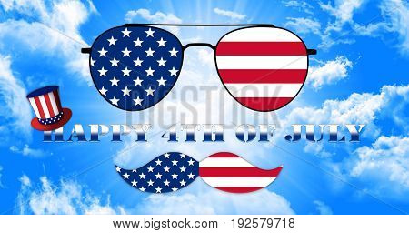 Happy 4Th Of July. Glasses And Mustache Design Of The American Flag With Hat Of Uncle Sam Illustrati