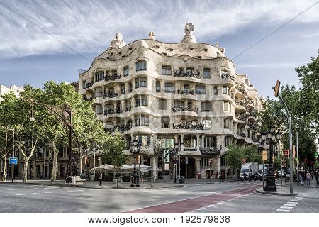 Case Mila - House Of Antoni Gaudi In Barcelona, Spain