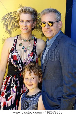 Nev Scharrel, Kristen Wiig and Steve Carell at the World premiere of 'Despicable Me 3' held at the Shrine Auditorium in Los Angeles, USA on June 24, 2017.