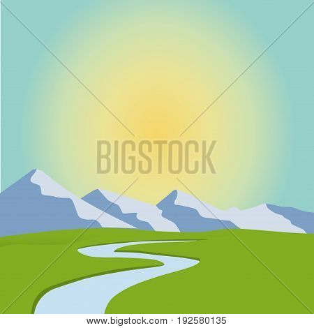 cartoon landscape, vector unending background with desert landscape, herbs, mountains and sky. Vector landscape. Flat landscape