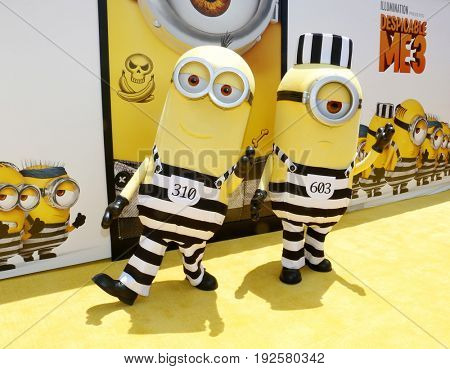 Minions at the World premiere of 'Despicable Me 3' held at the Shrine Auditorium in Los Angeles, USA on June 24, 2017.