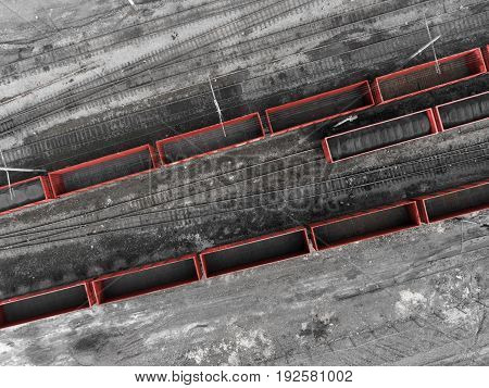 Panorama aerial view shot on railroad tracks with wagons, industrial production, factory