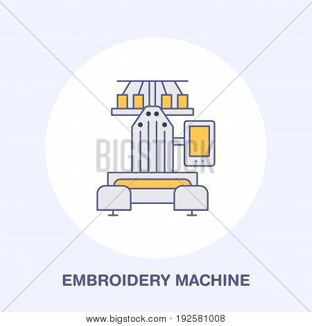 Sewing embroidery machine flat line icon, logo. Vector colored illustration of tailor supplies for hand made shop or dressmaking service.