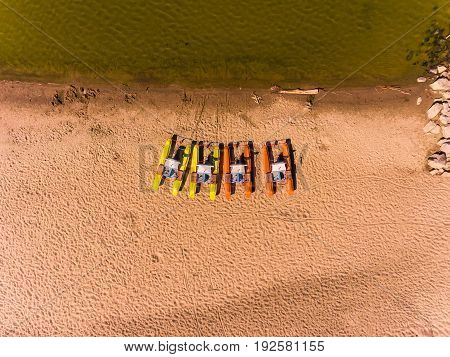Panorama aerial view on the beach, catamarans, water bicycle, water bike