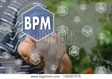 Farmer Businessman Pushes A Button Bpm, Business Process Management On The Touch Screen