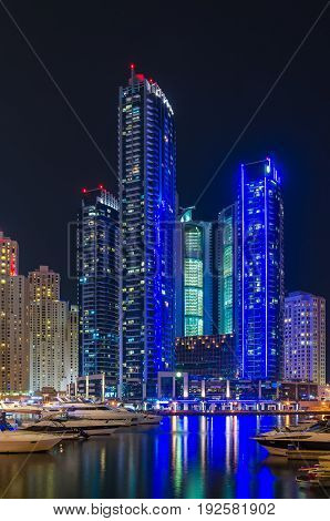Night lights of Marina Bay on the shores of the Arabian Gulf.