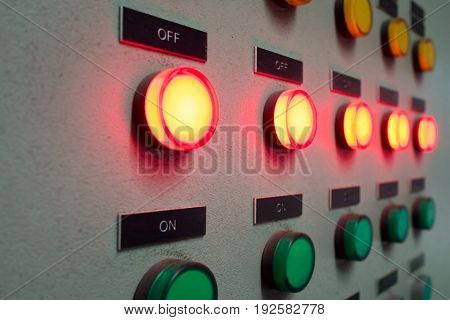 Red and green light led on electric Control Panel showing on/off status