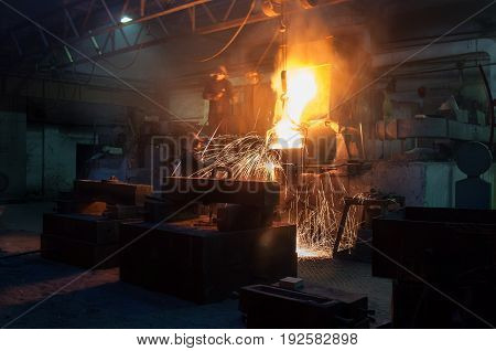 Metallurgical plant, hot metal casting and steelworkers poster