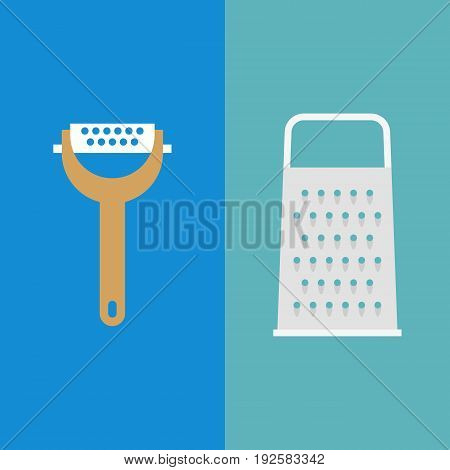 grater for cheese and fruit skin, flat design icon