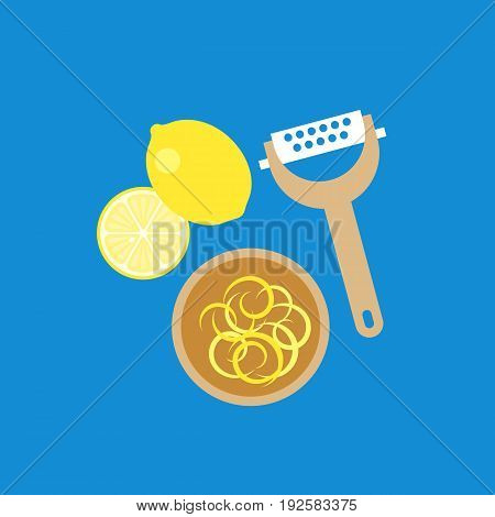 lemon, grater and lemon zest in wooden bowl, flat design icon