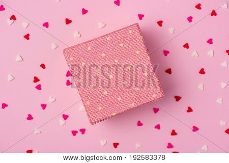 Delicate Pink Party Background With Streamers For Celebrating With Scattered Confetti