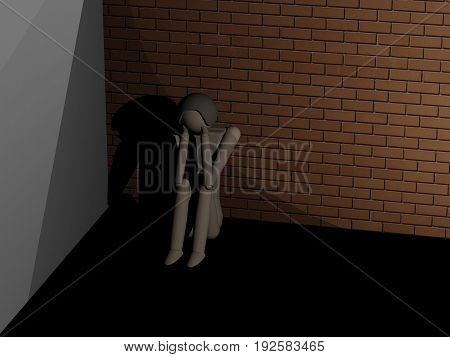 A man sitting huddled in the corner (3D rendering with wooden dolls)