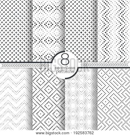 Set of vector seamless pattern. Infinitely repeating stylish elegant textures consisting of small rhombuses which form contemporary textured ornaments. Modern geometrical ornamental backgrounds.