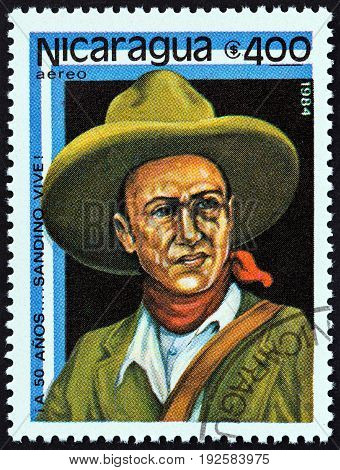NICARAGUA - CIRCA 1984: A stamp printed in Nicaragua issued for the 50th death anniversary of Augusto Sandino shows Augusto Sandino, circa 1984.