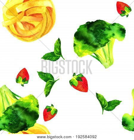 A seamless pattern of watercolour vegan food themed drawings. Leaves of mint, strawberry, broccoli sprout, and pappardelle pasta nest, hand painted on white background