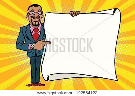 African American businessman showing on copy space background. Comic cartoon style pop art retro vector illustration