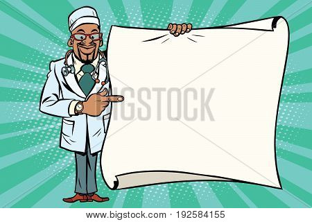 African doctor shows on copy space background. African American people. Comic cartoon style pop art retro vector illustration