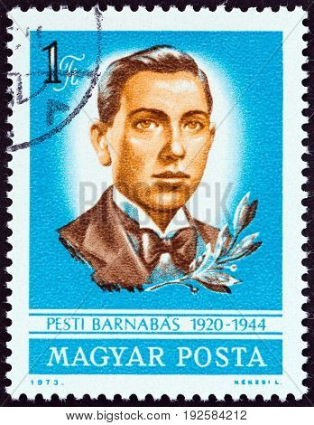 HUNGARY - CIRCA 1973: A stamp printed in Hungary issued for the 30th death anniversary of Barnabas Pesti shows Barnabas Pesti (patriot), circa 1973.