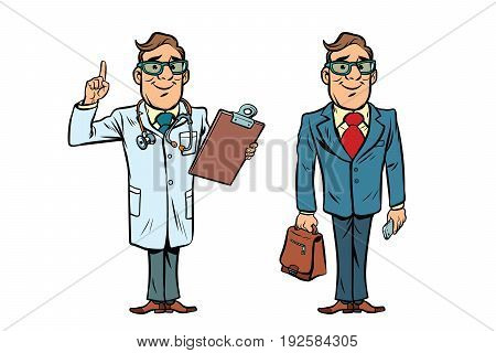 Happy doctor with glasses and a businessman. Comic cartoon style pop art retro vector illustration