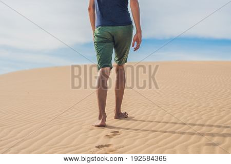 Men's Legs Go In The Desert Vietnam, Mui Ne