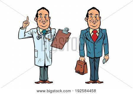 Smiling doctor and businessman. Comic cartoon style pop art retro vector illustration