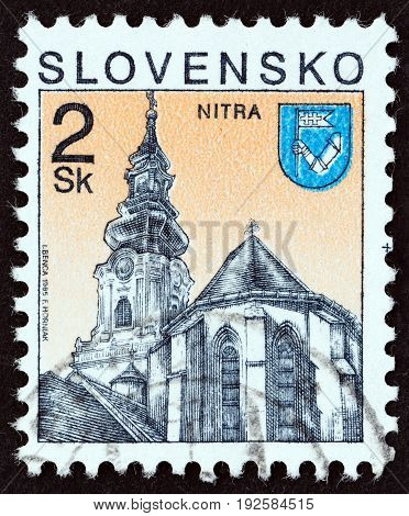 SLOVAKIA - CIRCA 1995: A stamp printed in Slovakia shows St. Emmeram Cathedral, Nitra city, circa 1995.