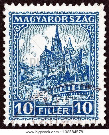 HUNGARY - CIRCA 1926: A stamp printed in Hungary shows Matthias Church and Fisherman's Bastion, circa 1926.